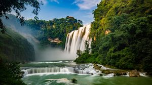 Preview wallpaper waterfall, river, precipice, trees, current, water