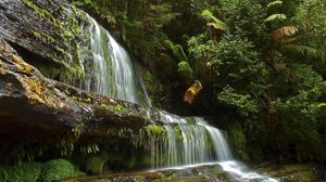 Preview wallpaper waterfall, river, rocks, summer