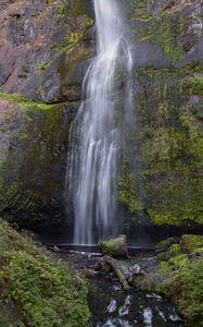 Preview wallpaper waterfall, rock, water, spray, moss