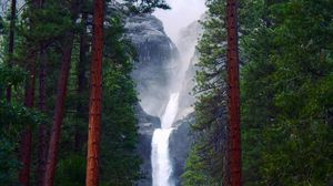 Preview wallpaper waterfall, rocks, trees, forest, nature