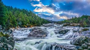 Preview wallpaper waterfall, stones, rocks, landscape, night, trees