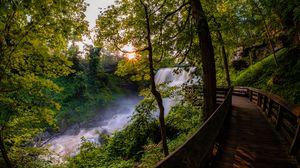 Preview wallpaper waterfall, trees, bridge, nature, landscape