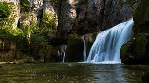 Preview wallpaper waterfall, water, rocks, stones, nature