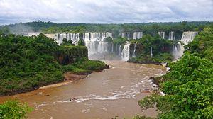 Preview wallpaper waterfalls, brazil, river, landscape, iguazu, nature