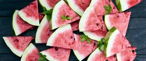 Preview wallpaper watermelon, slices, mint, red, ripe