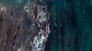 Preview wallpaper waves, aerial view, water