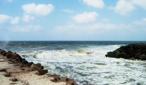 Preview wallpaper waves, coast, stones, force, power, breakwater, dirty water