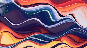 Preview wallpaper waves, colorful, abstraction, lines