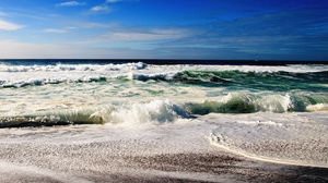 Preview wallpaper waves, sea, sky, stones, coast, noise, surf