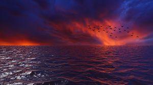 Preview wallpaper waves, sky, birds, horizon, sunset, sea, clouds, flock