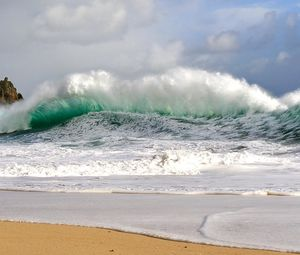 Preview wallpaper waves, storm, coast, bad weather, force, power, blow, streams, wind, splashes