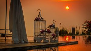 Preview wallpaper wedding, cell, love, sunset, swimming pool, bouquets