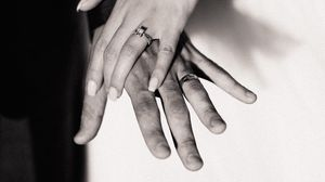 Preview wallpaper wedding, hands, bw, love, touching