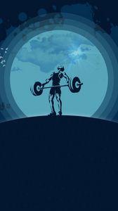 Preview wallpaper weightlifter, sport, barbell, art, vector