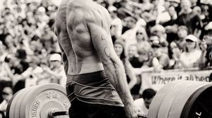 Preview wallpaper weightlifting, back, sportsman, weight, bar, muscles