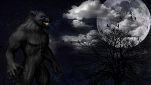 Preview wallpaper werewolf, monster, grin, starry sky, full moon, night