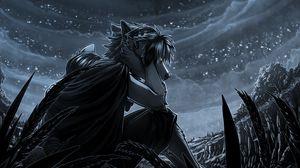 Preview wallpaper werewolf, night, art, moon, moonlight