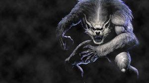 Preview wallpaper werewolf, wolf, jump, fog