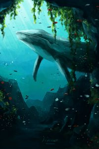 Preview wallpaper whale, animal, underwater, water, fish, art