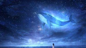 Preview wallpaper whale, girl, art