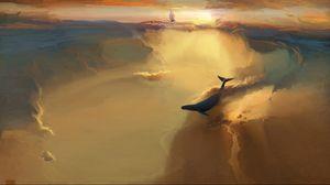 Preview wallpaper whale, sea, swim, smoke