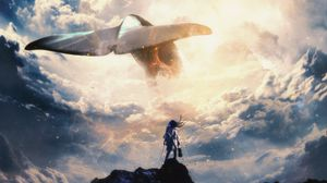 Preview wallpaper whale, tail, musician, symphony, clouds, art, surrealism