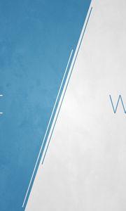 Preview wallpaper white, blue, lettering