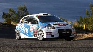 Preview wallpaper white, blue, sports, abarth, grande punto, car, side view, nature, water