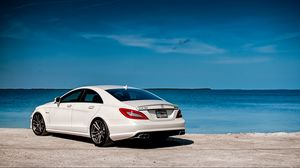 Preview wallpaper white, mercedes-benz, rear view, mercedes, cls63, amg