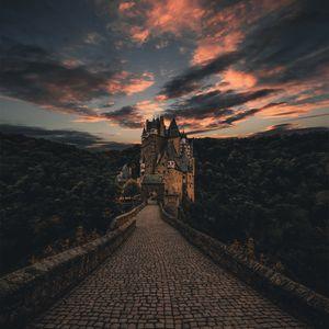Preview wallpaper wierschem, germany, castle, trail, evening, sky