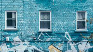 Preview wallpaper windows, building, graffiti, facade, wall