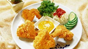 Preview wallpaper wings, chicken, sauce, plate