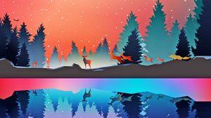 Preview wallpaper winter, animals, art, vector, forest, reflection