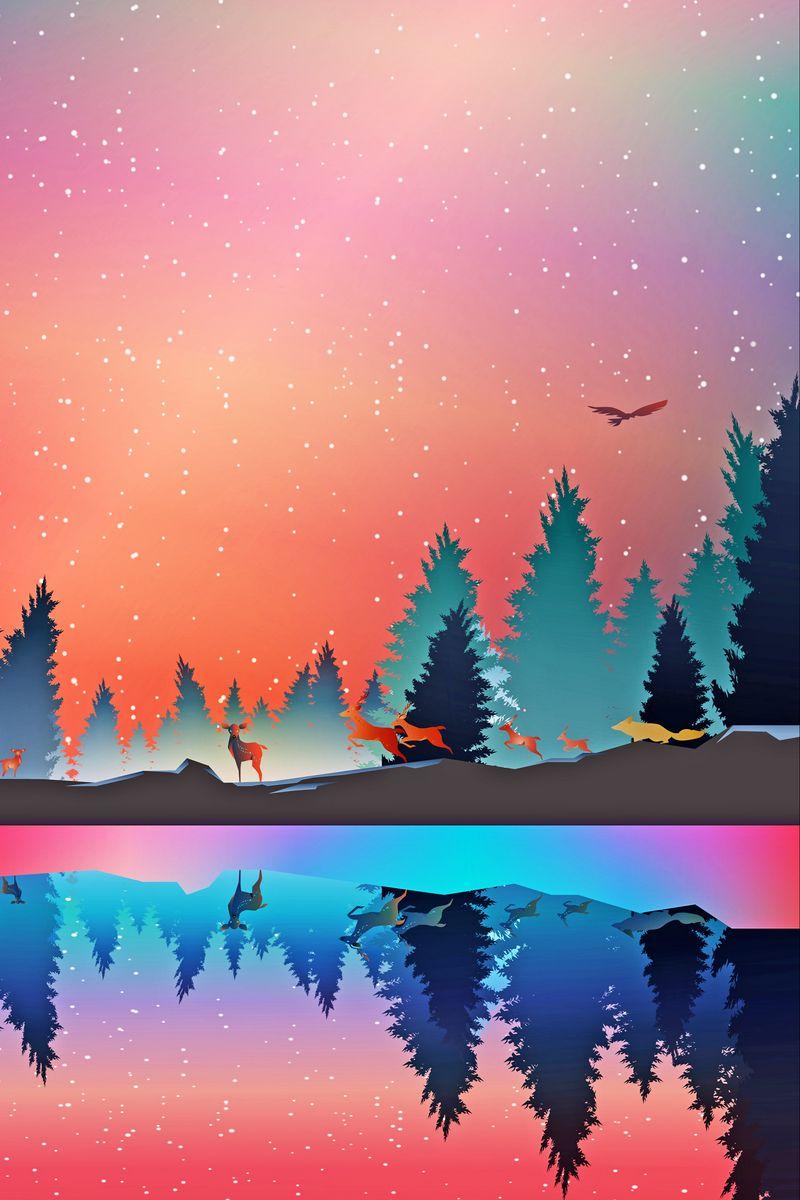 800x1200 Wallpaper winter, animals, art, vector, forest, reflection