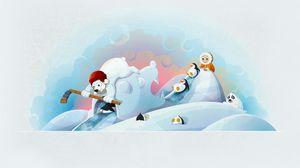 Preview wallpaper winter, bears, hockey, hockey stick, baby, penguin, fun, seal