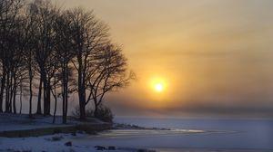 Preview wallpaper winter, lake, ice, snow, trees, sun, dawn
