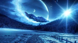 Preview wallpaper winter, night, mountains, road, planet, fantastic landscape