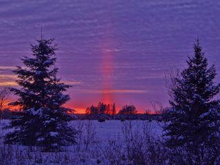 320x240 Wallpaper winter, sunset, field, landscape