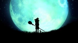 Preview wallpaper witch, silhouette, moon, full moon, night, art