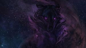 Preview wallpaper wolf, art, night, dark