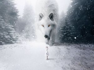 Preview wallpaper wolf, child, photoshop, white, snow, fog