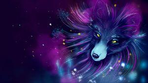 Preview wallpaper fox, art, space, purple