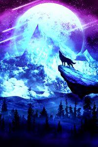 Preview wallpaper wolf, moon, night, mountains, art