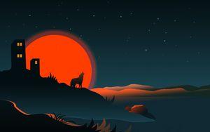 Preview wallpaper wolf, silhouette, building, sun, vector, art