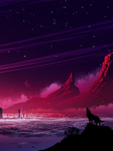 Preview wallpaper wolf, silhouette, hills, mountains, loneliness