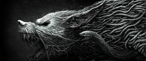 Preview wallpaper wolf, teeth, drawing, aggression, black, white