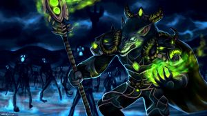 Preview wallpaper wolf, warrior, armor, glowing