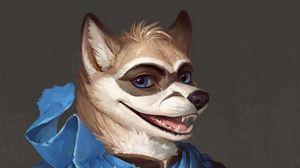 Preview wallpaper wolf, werewolf, art, cute, smile