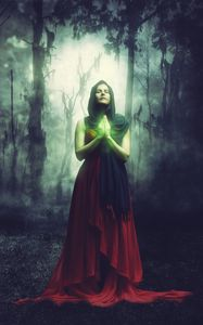 Preview wallpaper woman, magician, magic, forest, surreal