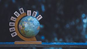 Preview wallpaper world, globe, cubes, letters, words